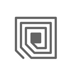 rfid tag chip line icon vector image