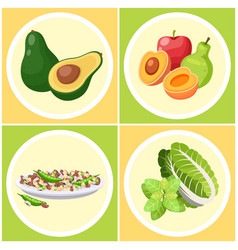 Set healthy food avocado icon apple pear vector