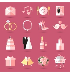 Set wedding icons in flat style vector