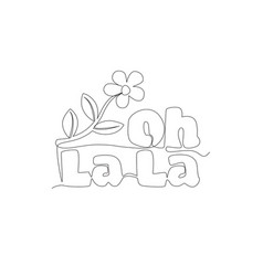 single continuous line drawing cute and beauty vector image