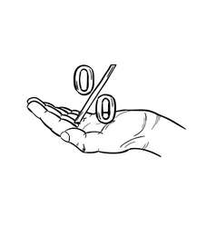 Sketch of the percentage symbol and hand vector