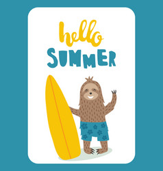 sloth card vector image