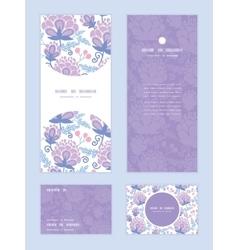 Soft purple flowers vertical frame pattern vector