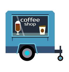 Street food festival coffee shop trailer vector