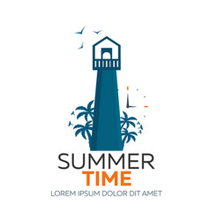 summer time logo lighthouse with palm vector image