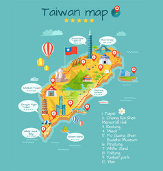 Taiwan map with sightseeing taipei chiang kai-shek vector