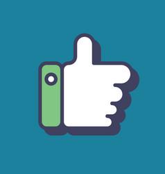 Thumb up icon blue logo like symbol flat vector
