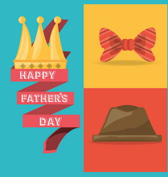 Tie bow hat and ribbon with fathers day vector