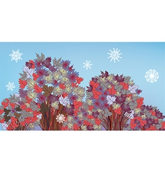 Tree banner with snow and leaves vector image