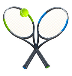 two tennis rackets with a ball vector image