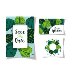 wedding save date floral cards green foliage vector image