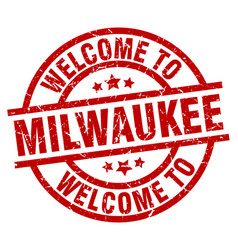 welcome to milwaukee red stamp vector image