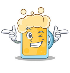wink beer character cartoon style vector image