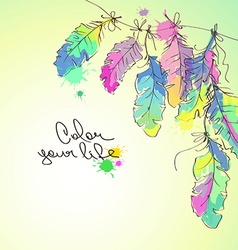 With colorful feathers vector