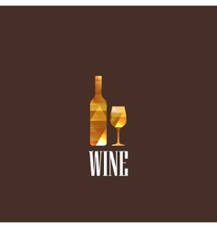 with diamond wineglass and bottle vector image
