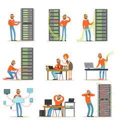 young engineer working in network server room vector image