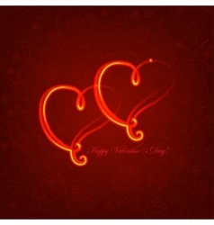 Background with glowing hearts on love symbol vector image