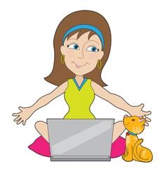 Happy Laptop Lady vector image vector image