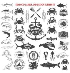 seafood menu labels set Design elements for logo vector image vector image
