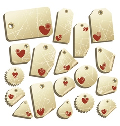 set of tags with hearts vector image