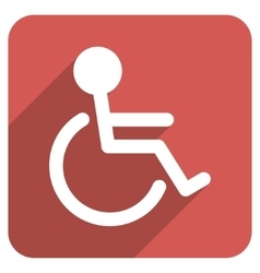 Handicapped Flat Rounded Square Icon with Long vector image