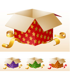 open gift box with gold ribbon vector image