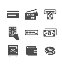 ATM and money icons vector image vector image