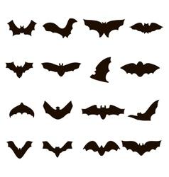 Big set of black silhouettes bats vector image vector image