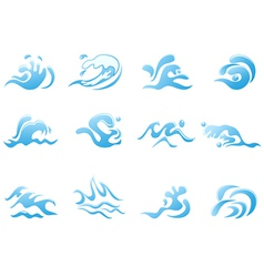 blue wave icons vector image vector image
