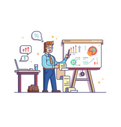 business analyst shows charts and graphs vector image vector image