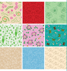 colorful backgrounds - floral seamless patterns vector image vector image
