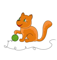 Little funny cat plays with a ball of yarn vector image vector image