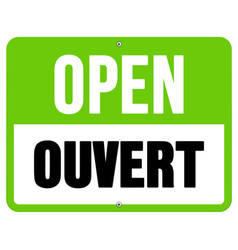 Ouvert sign in black and green vector image vector image