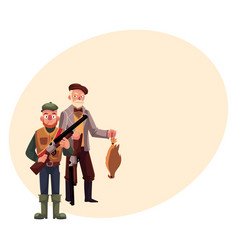 two hunters one modern another old fashioned vector image