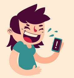 Cute Girl Laughing at the Phone vector image vector image
