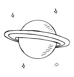 doodle planet Saturn with stars hand drawn vector image vector image