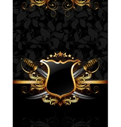 ornate frame with sabers vector image vector image