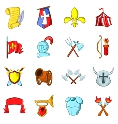 The middle ages icons set vector