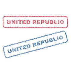 united republic textile stamps vector image