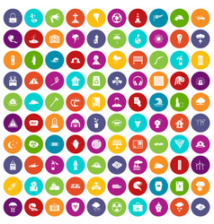 100 disaster icons set color vector