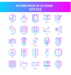 25 blue and pink futuro office icon pack vector image