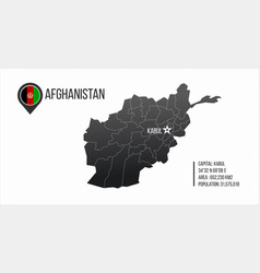 Afghanistan detailed map with regions and kabul vector