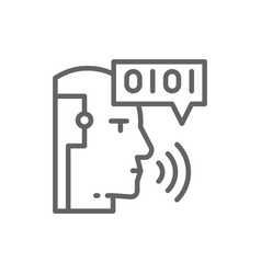 artificial intelligence robot with sound waves vector image