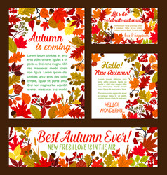 Autumn posters banner of leaf fall vector