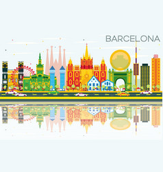 Barcelona skyline with color buildings blue sky vector