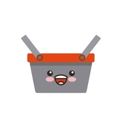 basket shopping kawaii character vector image