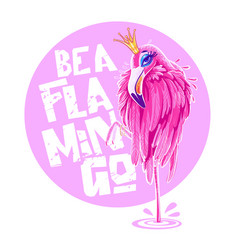 beautiful pink flamingo doodle graphics for vector image