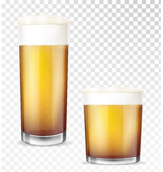 beer glasses empty and full transparent cup vector image
