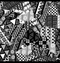 black and white patchwork background with african vector image
