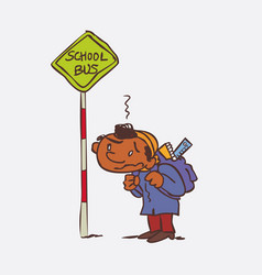 black boy waiting for the school bus vector image